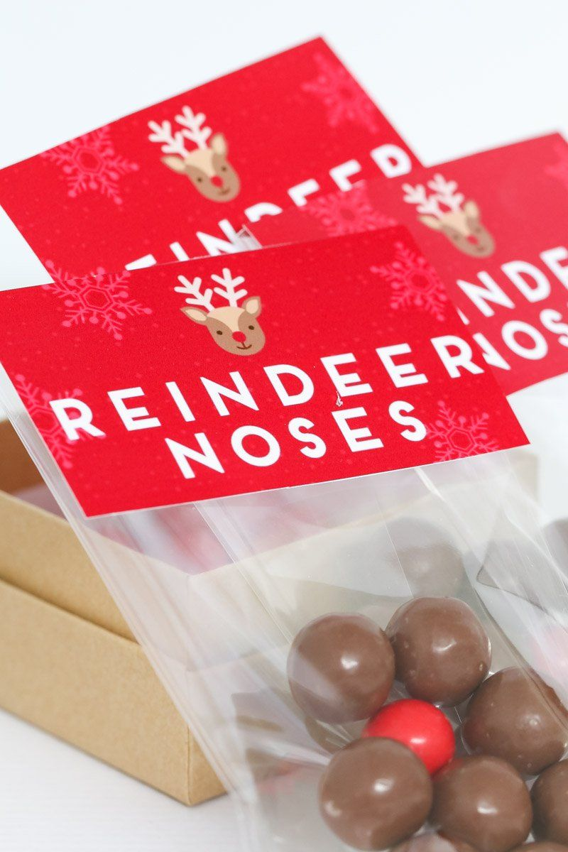 Reindeer Noses - Free Christmas Printable Gift Bag | Delectable ...