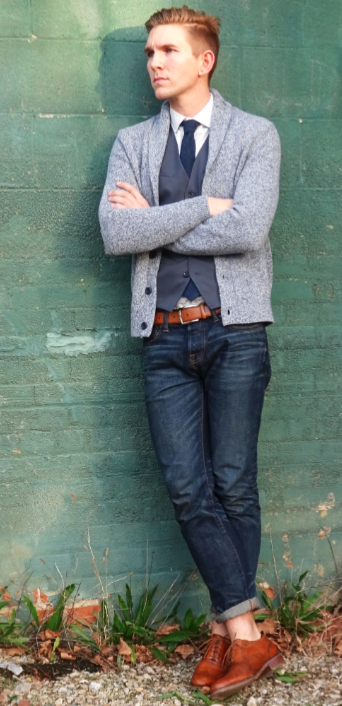 Love a shawl collar cardigan in place of a blazer.
