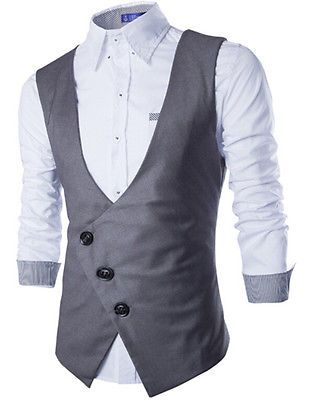 a0d26cdcd7a6 Men-039-s-Slim-Fit-Sleeveless-Breasted-Single-Suit-Vest-Coat-Jacket-Casual -Waistcoat