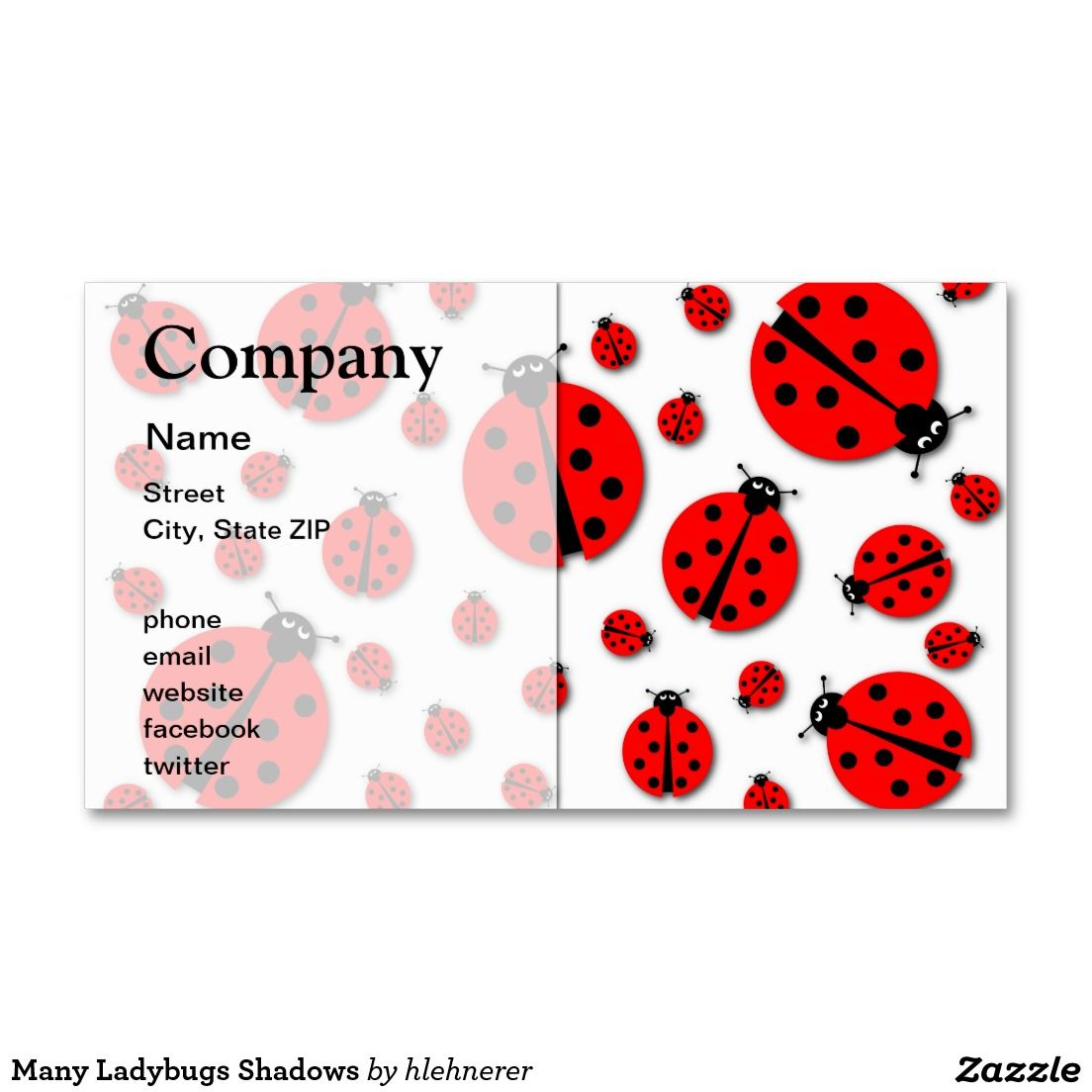 Many Ladybugs Shadows Double-Sided Standard Business Cards (Pack Of ...