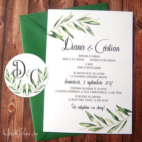Diana Invitatii Pentru Nunta In Stil Grecesc Cu Frunze De Maslin