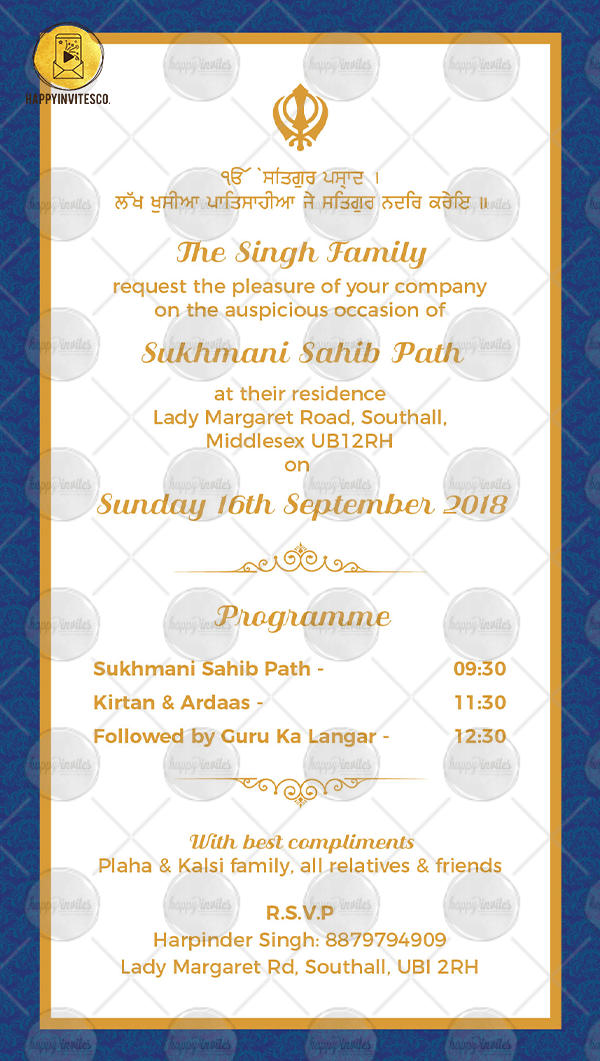 15 Format Of Sukhmani Sahib Path Invitation For New House And Review Invitations Invitation Cards Card Template