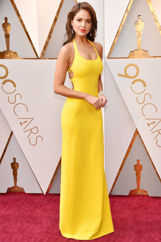 52f3bc2cab6b8 Eiza González in Ralph Lauren at Oscars 2018 Yellow Dress, Gold Dress,  Celebrity Style