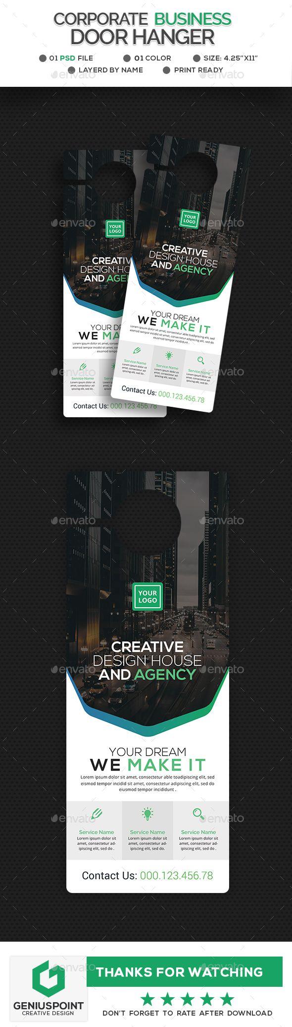 Corporate Door Hanger | Door hanger template, Print templates and ...