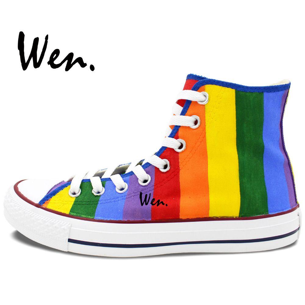 Aliexpress.com : Buy Wen Hand Painted Canvas Shoes Original Design Custom  Rainbow Sneakers Men