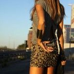 Sequin skirt Fashion style gold and top