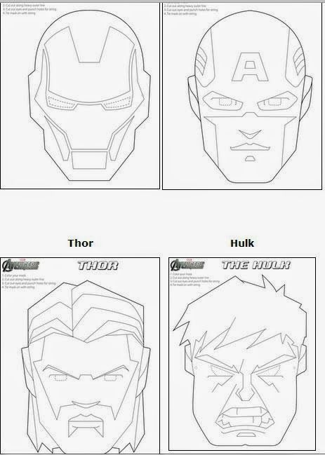 Avengers Free Printable Coloring Masks. | Super Hero Party ...