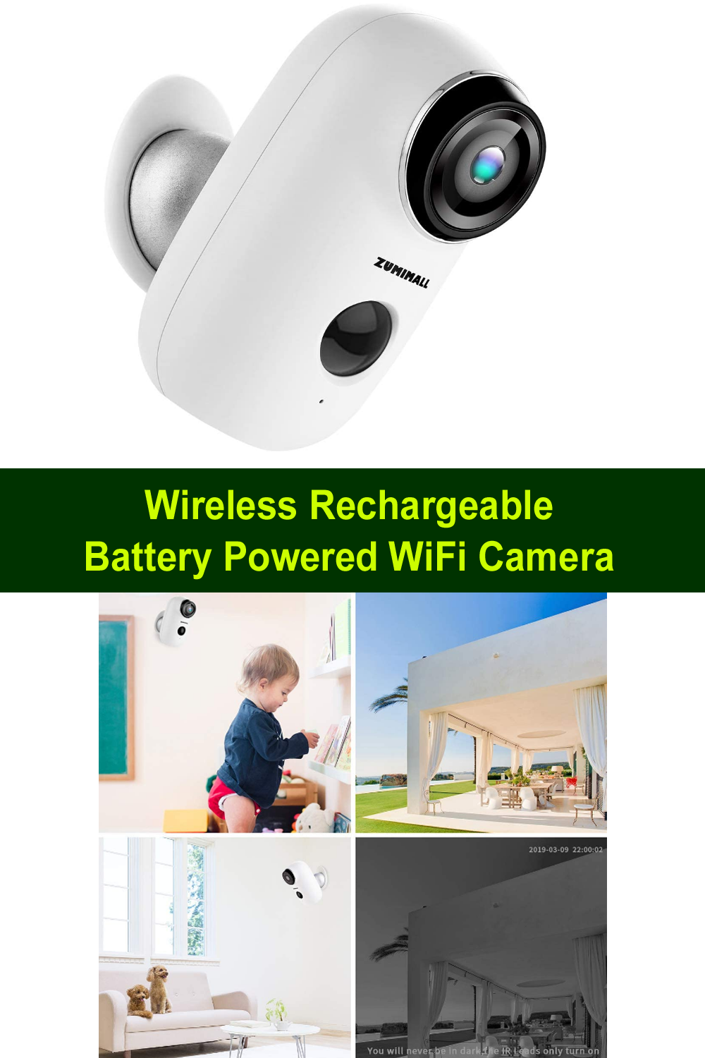 Wireless Rechargeable Battery Powered Wifi Camera Wifi Camera Best Security Cameras Security Cameras For Home