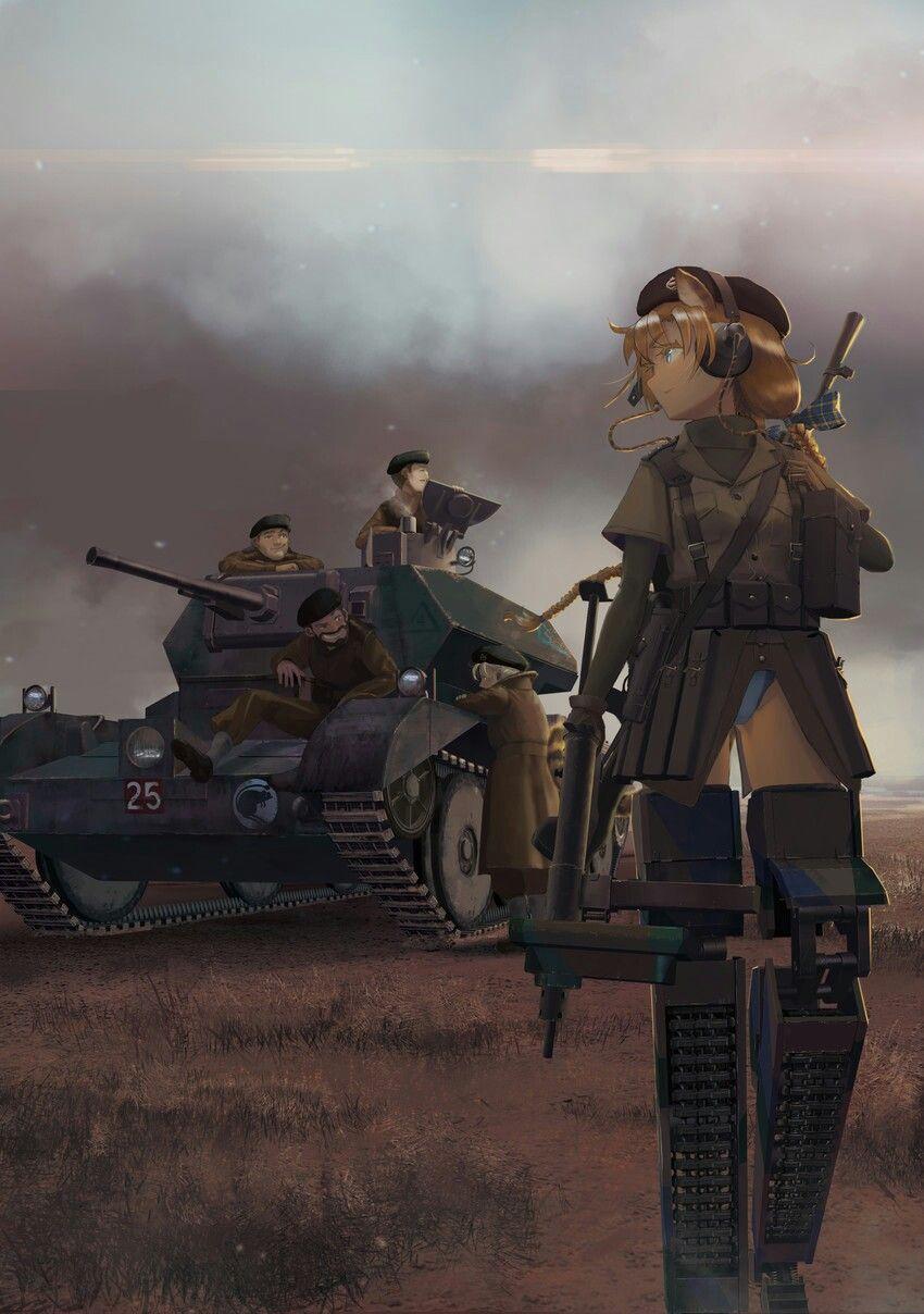 การ์ตูนสงครามโลก Anime warrior, Anime tank, Anime scenery