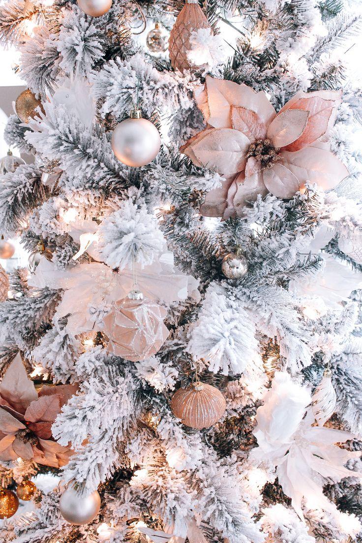 Blush Pink Rose Gold White Christmas Decor Christmas Tree Wallpaper Gold Christmas Decorations Wallpaper Iphone Christmas