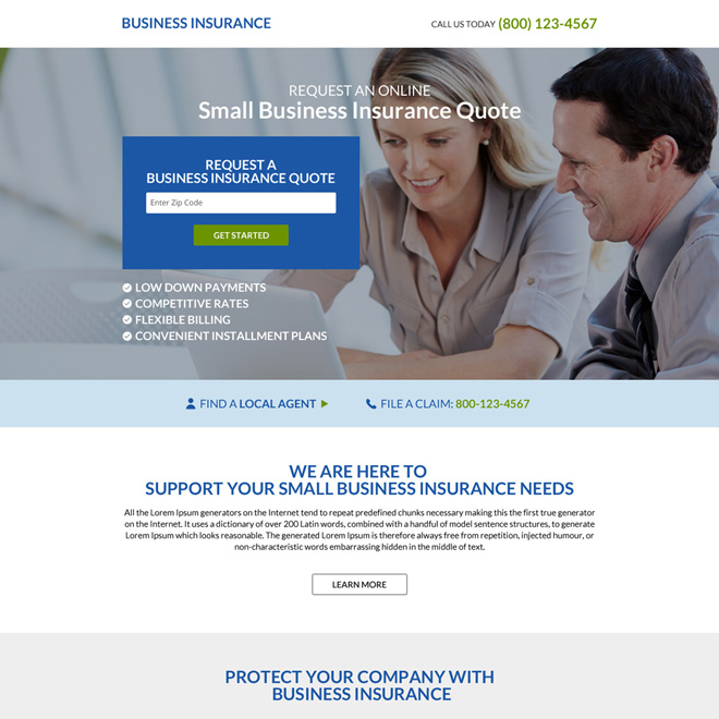 Download Responsive Business Insurance Minimal Landing Page Design