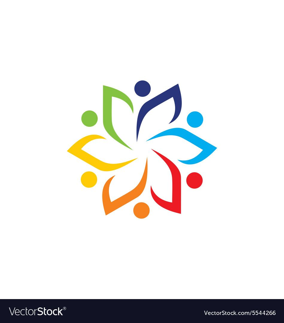Circle people group leaf colorful logo Royalty Free Vector