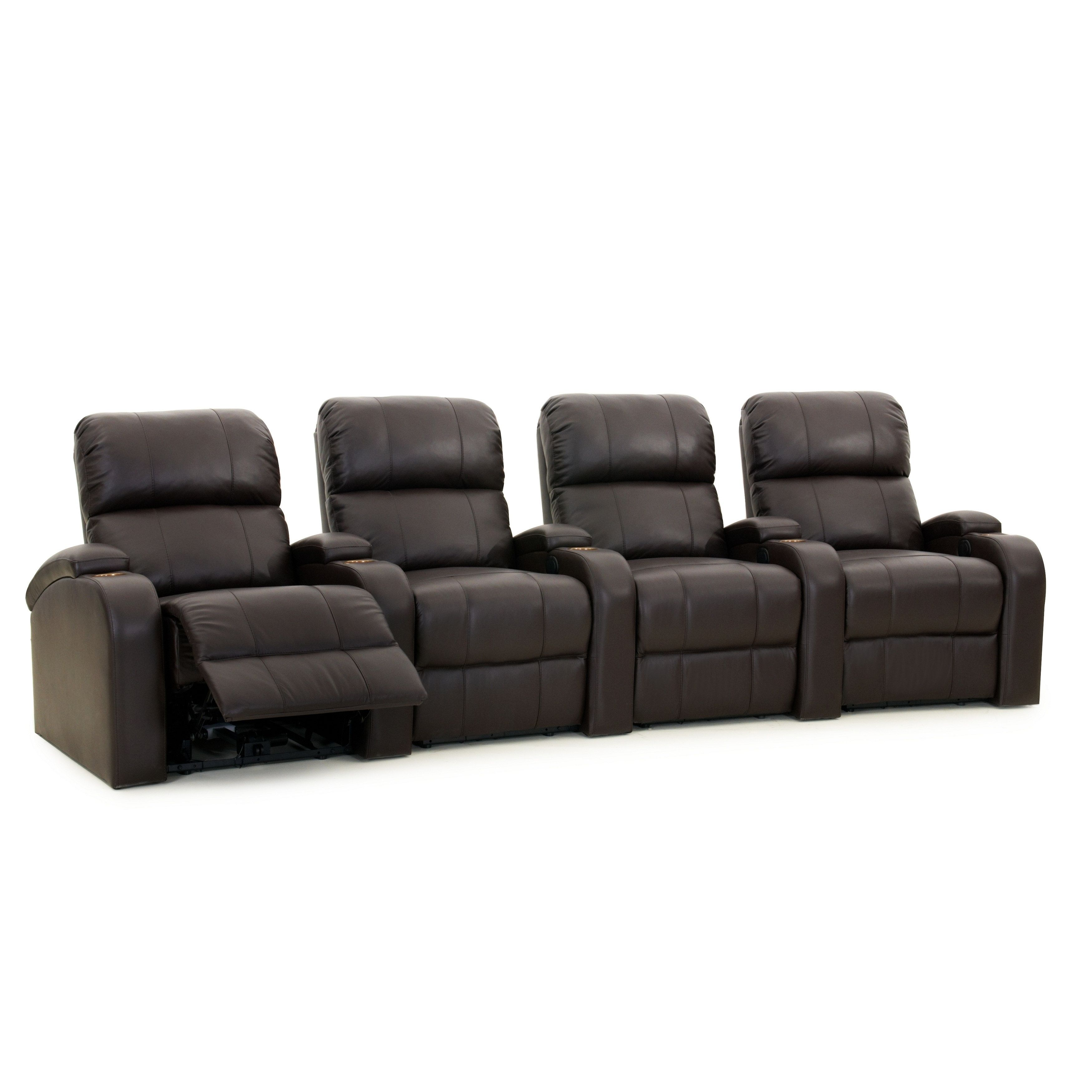 Octane Edge XL800 Power Leather Home Theater Seating Set Row of 4