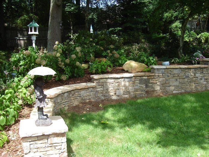 Stacked Stone Retaining Wall And Perennial Flower Garden In Lilburn Georgiathe Top Bench Is So Great