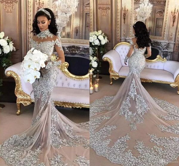 Cheap 2017 Silver Luxury Wedding Dresses Sheer Long Sleeves High Neck Lace Appliqued Beaded Mermaid Bridal Gowns Chapel Train Custom Made As Low 2305