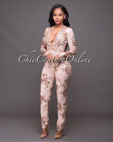 07ac8d2a082 Conna Blush Rose Gold Sequins Jumpsuit