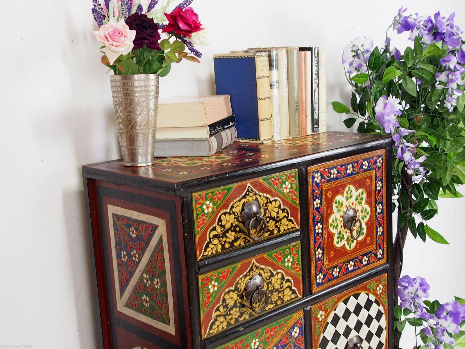 handbemalte Massiv Holz orientalische Kommode Schrank cabinet ...