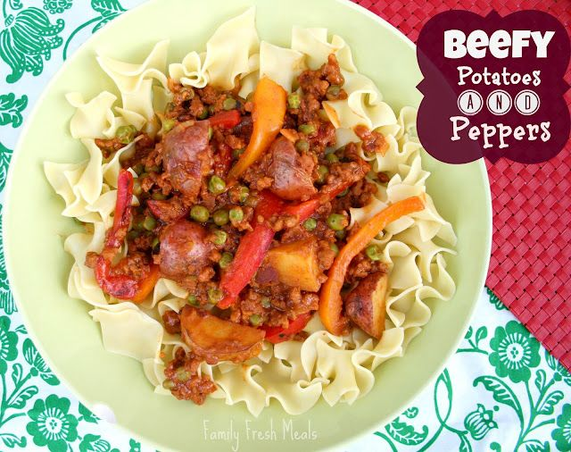 Beefy Potatoes and Peppers  With optional vegetarian option  Super easy dinner and flavorful!