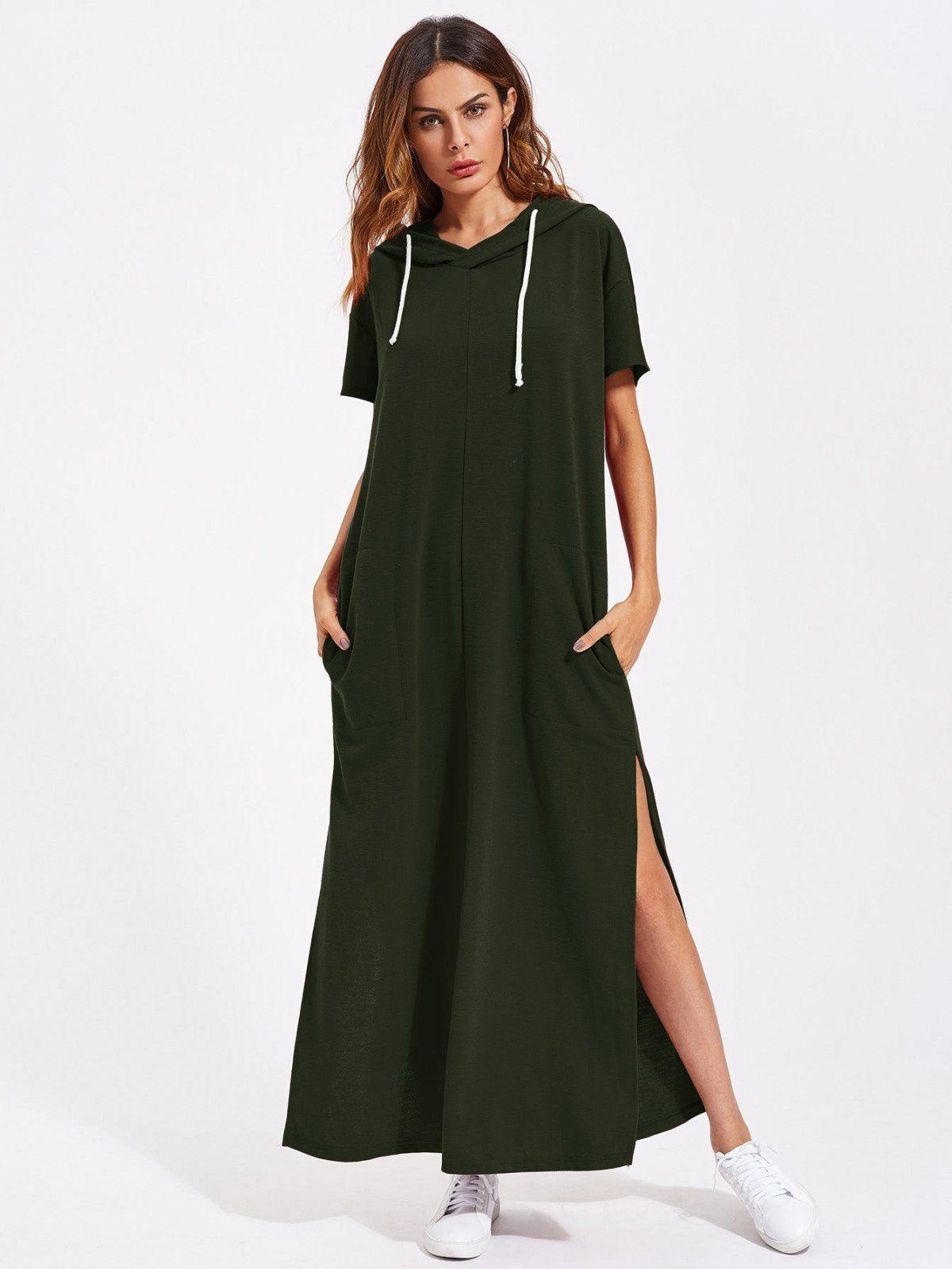 Drop shoulder slit side hooded dress think print fashion