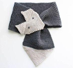Детский шарф, лиса или Енот спицами - Вкусняш