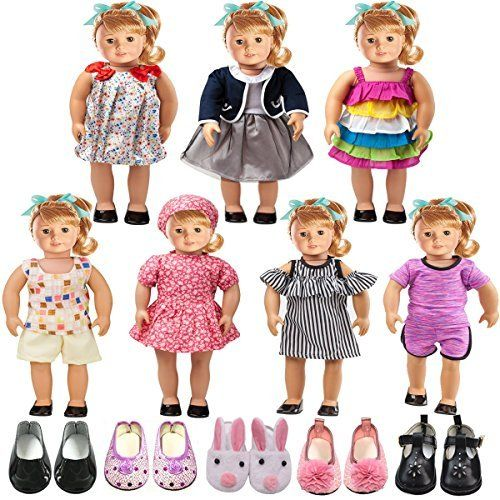 "Fits 18/"" Doll 10 Complete Outfits American Girl Doll Clothes Wardrobe Makeover"