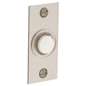 Baldwin 2.5 in. Rectangular Wired Lighted Doorbell Button in Satin Nickel 4853.150 at The Home Depot - Mobile