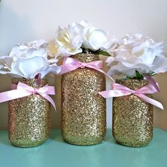 Pink and gold mason jar set Pink Bows and by EverydayDesignEvents