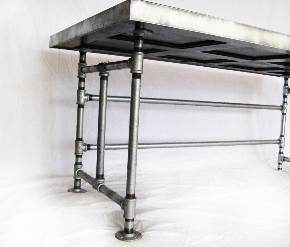 Furniture table storage using reclaimed galvanized pipe for Diy galvanized pipe table