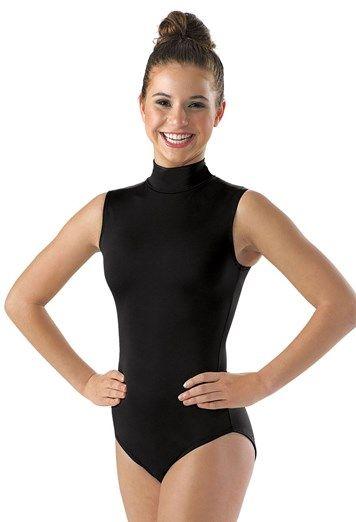 Womens Lycra Spandex Mock-Turtleneck Neck Sleeveless Open Back Yoga Ballet Dance Leotard