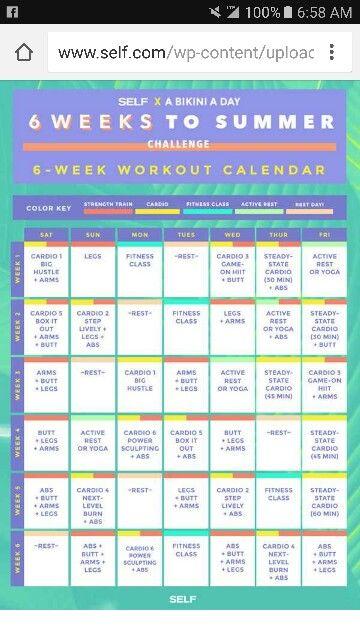 6 Weeks Workout Calendar 6 Week Workout Plan Weekly Workout Plans