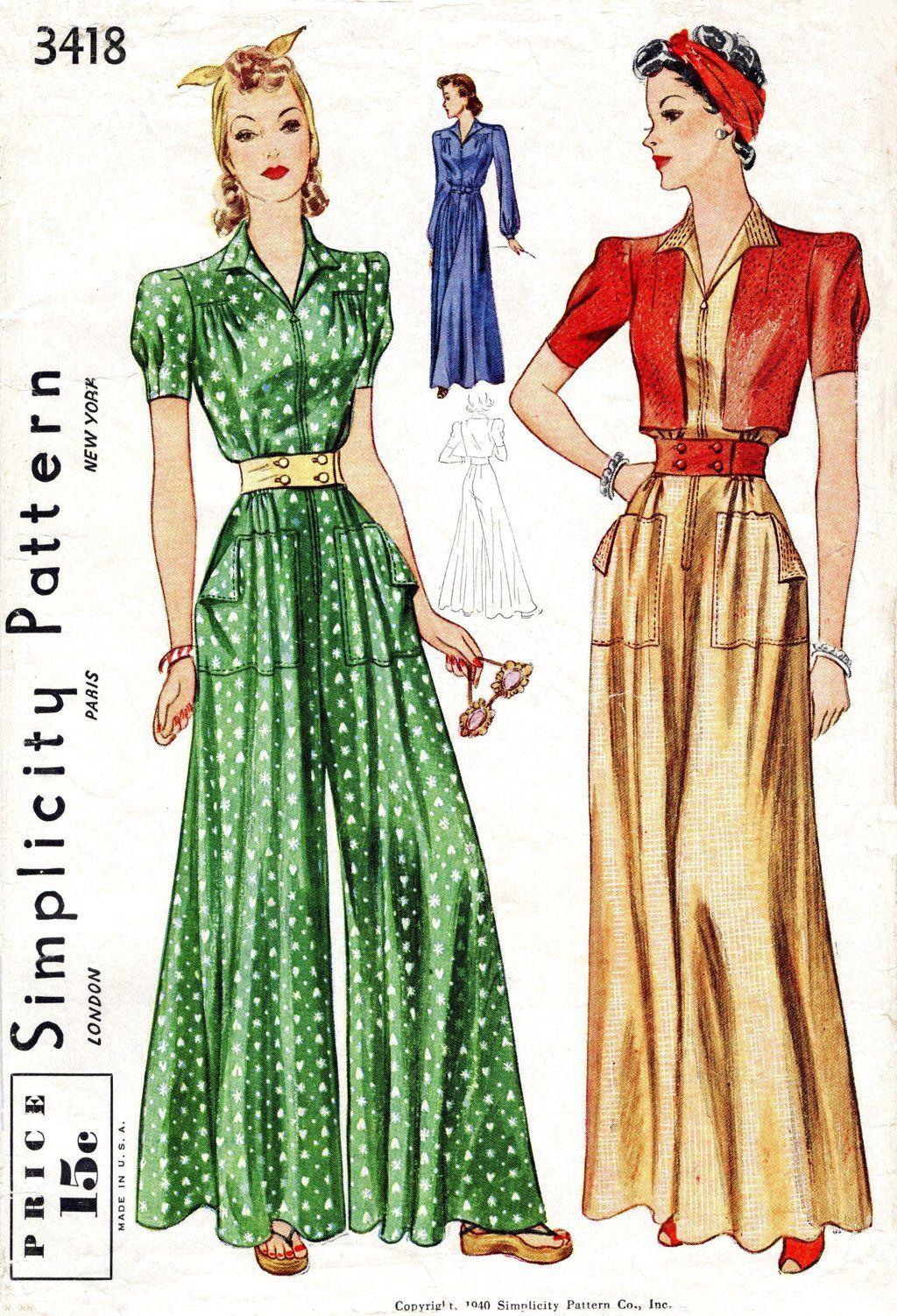 e000d50fec16 Simplicity 3418 1940s wide leg jumpsuit sewing pattern