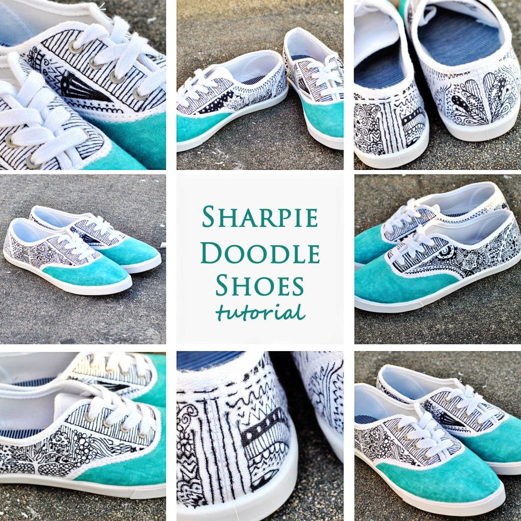 doodle shoes (these are maybe a little too zentangle-y, but
