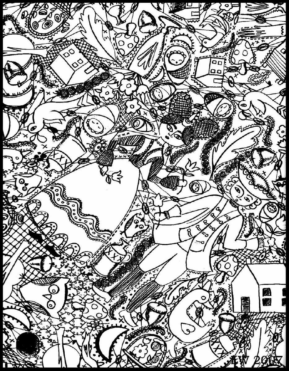 Free Coloring Page Doodle Art Doodling 4 Two Big Characters