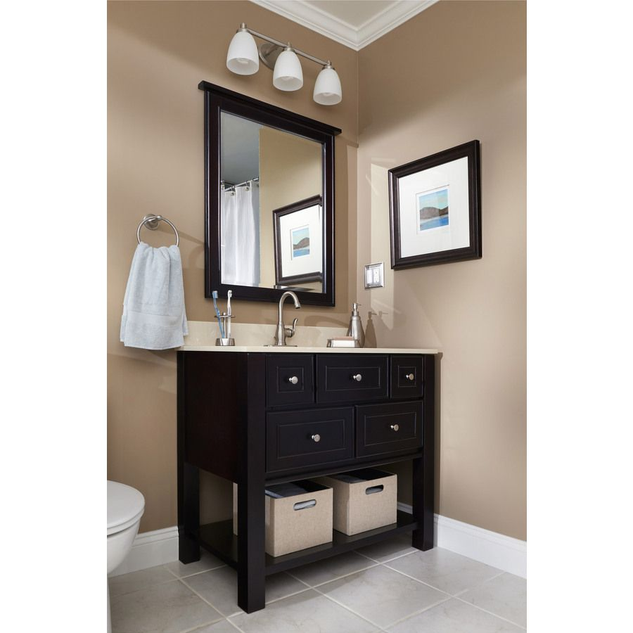 Pictures In Gallery Shop allen roth Hagen Espresso Undermount Single Sink Birch Poplar Bathroom Vanity with Engineered Stone Top Common x Actual