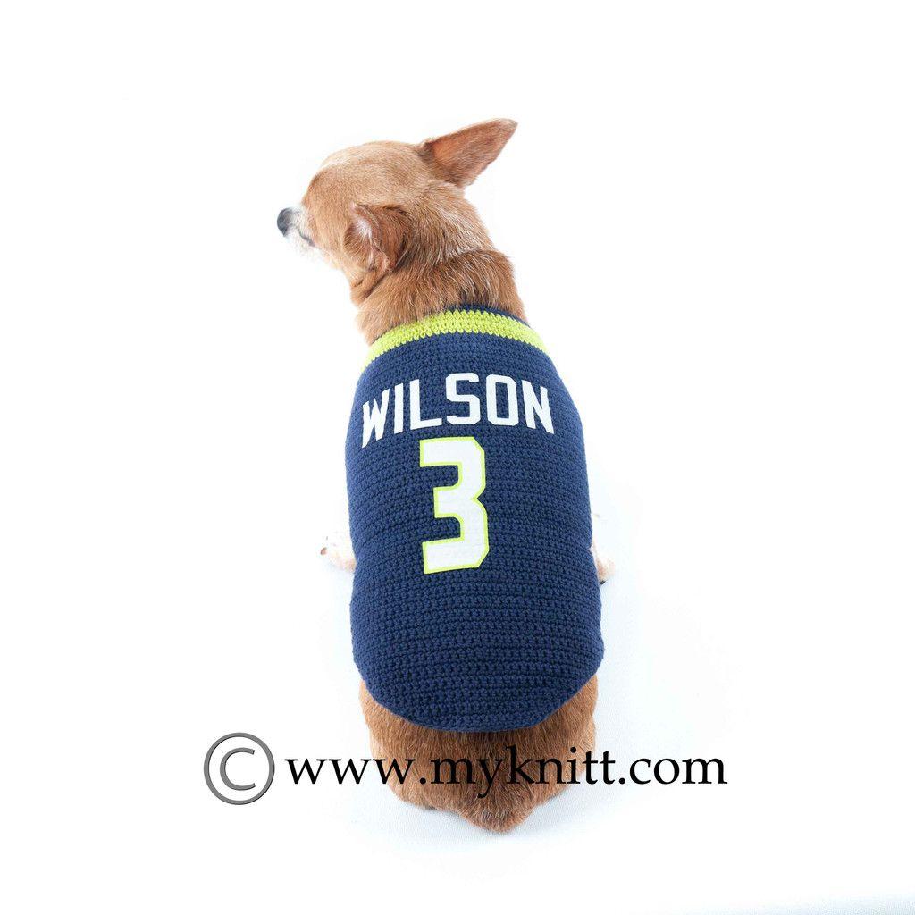 NFL Football Jerseys Russell Wilson Dog Clothing Handmade Crochet ...