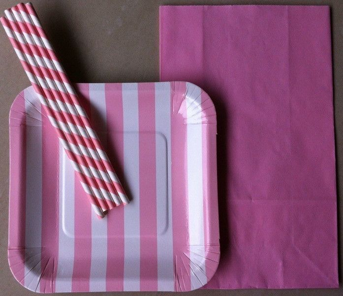 Top saler for Christmas party---pink striped dinnerware set--paper straw & Top saler for Christmas party---pink striped dinnerware set--paper ...