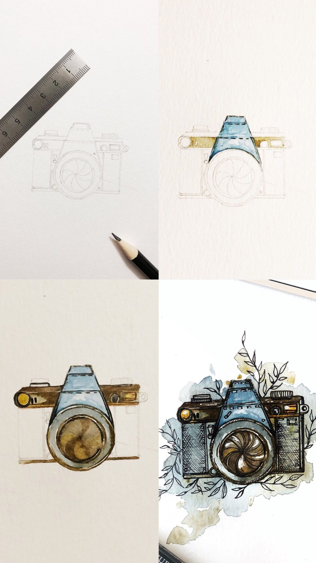 Mini watercolor and micron pen camera sketch tutorial with step by step process photos.   #tutorial #sketchbook #drawingtutorial #drawingtips #sketching #artteacher #artteachersofinstagram #arttutorials #arttechniques #doodleart #doodles  #camera