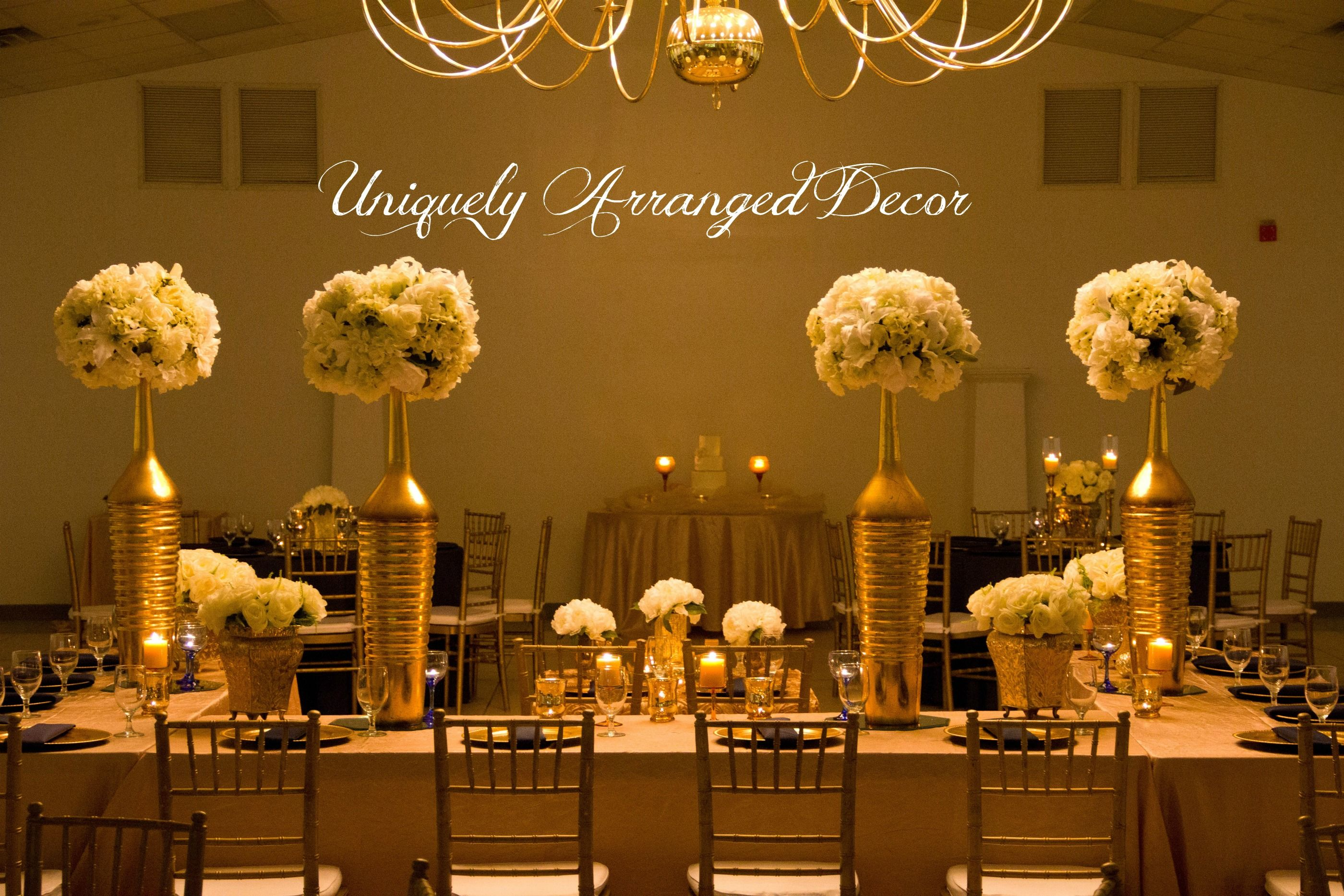 Navy ivory and gold wedding reception elegant tall