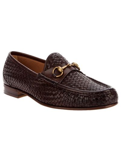 3639d8bcf80a77 Gucci brown woven leather loafer- Can u say NASTY?!? www.farfetch.com