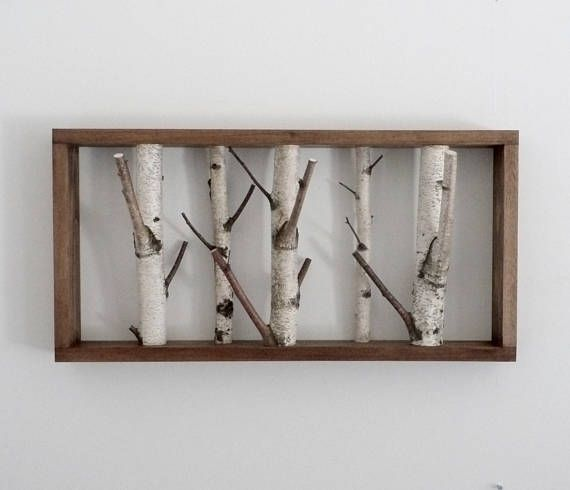 White Birch Forest Wall Art Coat Rack Birch Branch Birch Birch Branches Forest Wall Art Rustic Wall Decor