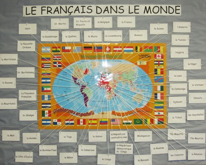 A world map highlighting all of the french speaking countries around a world map highlighting all of the french speaking countries around the world lecole pinterest learning french classroom organization and language gumiabroncs Choice Image