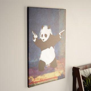 Shop for icanvas art banksy panda with guns blue square canvas print wall art free