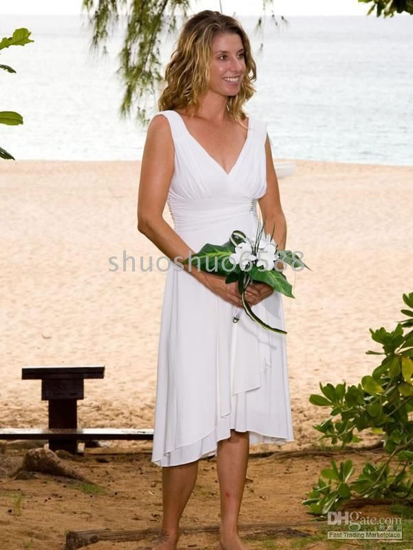 Wholesale Sheath Column V Neck Knee Length Chiffon Beach Wedding