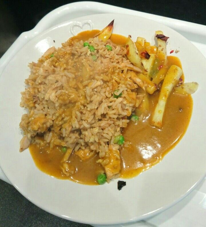 Chicken fried rice, salt and pepper chips & curry sauce ...