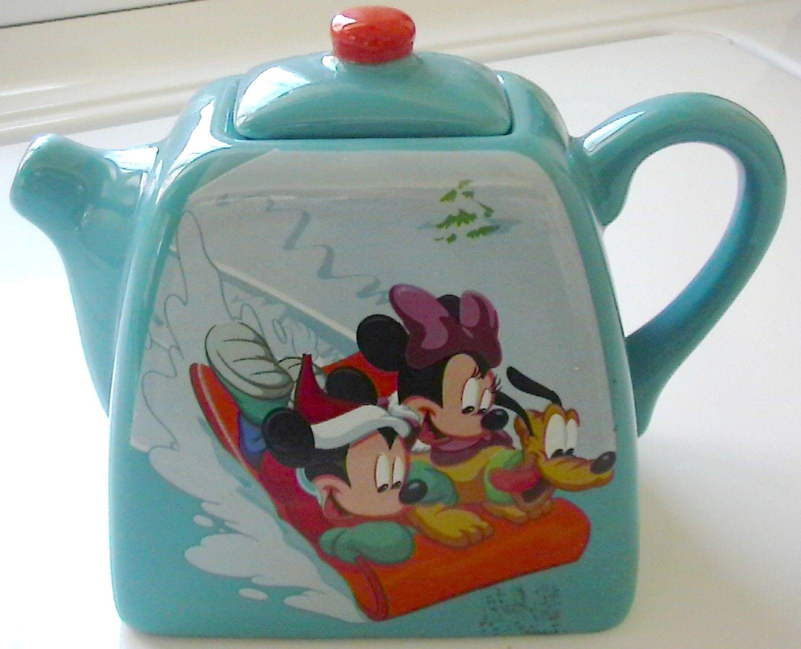 Retro Turquoise Disney Mickey Minnie Mouse Pluto Sled Ceramic Aqua Tea Pot Lid Minnie Mouse Mug Tea Pots Disney Mickey