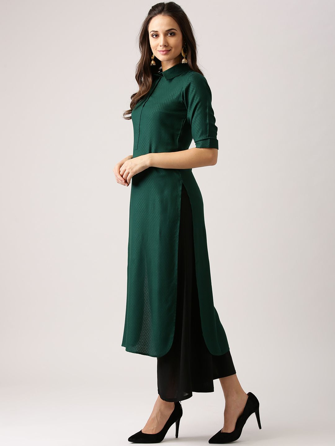 bd945096f0 Buy Libas Women Green Woven Design Pathani Kurta - Kurtas for Women 2477343  | Myntra