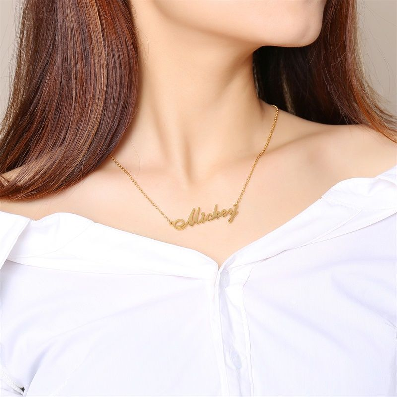 Vnox Personalized Custom Any Name Necklace Script Initial Nameplate Woman Jewelry Chain 14 To 20 Name Necklace Delicate Gold Necklace Custom Necklace