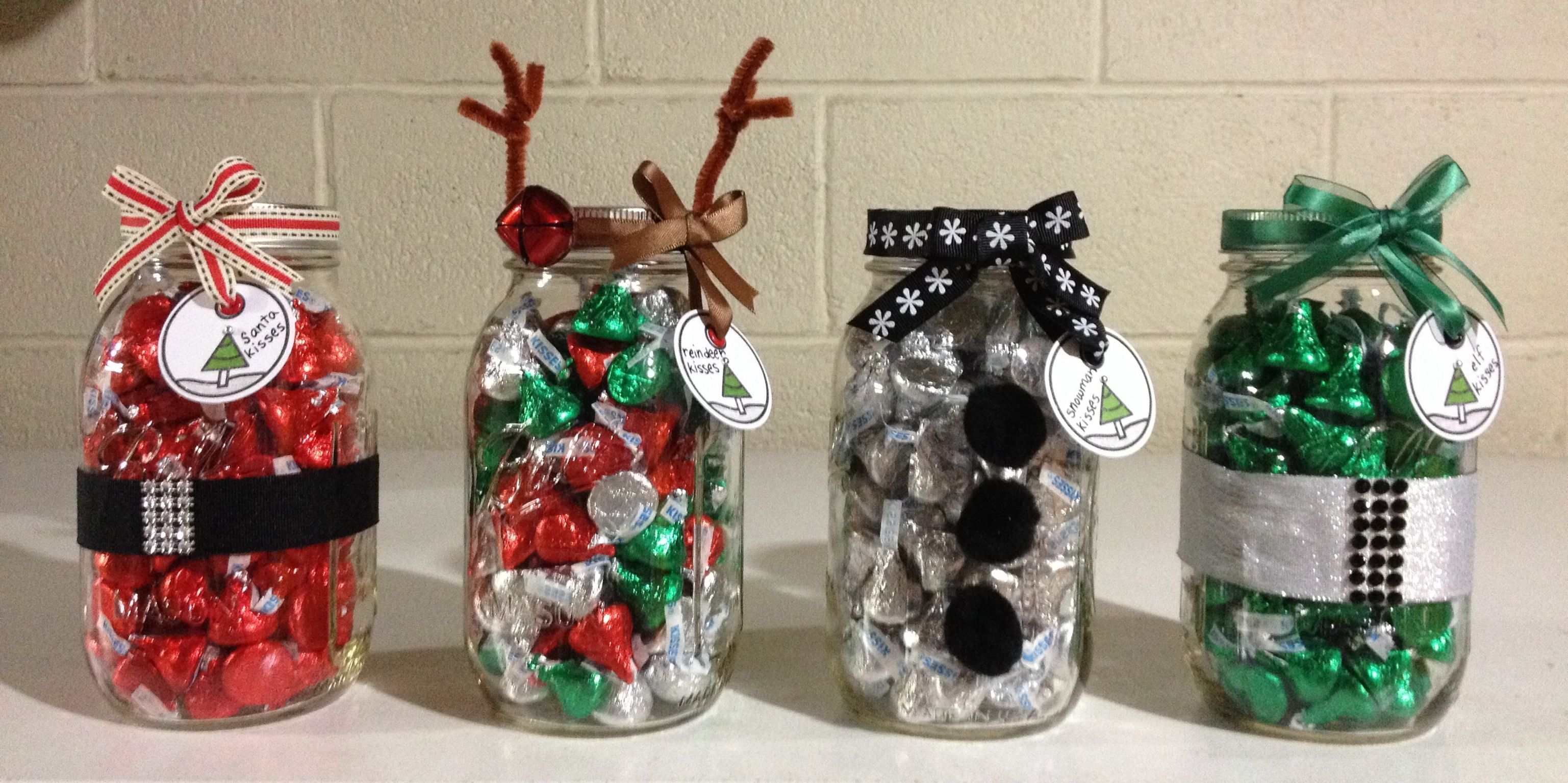 Teacher gifts for Christmas. Santa, reindeer, snowman, and elf kisses.