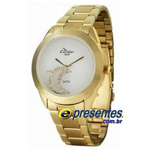 3ede0ea4a KW85031B Relógio Feminino Condor Dourado Pingente Lua Strass ...