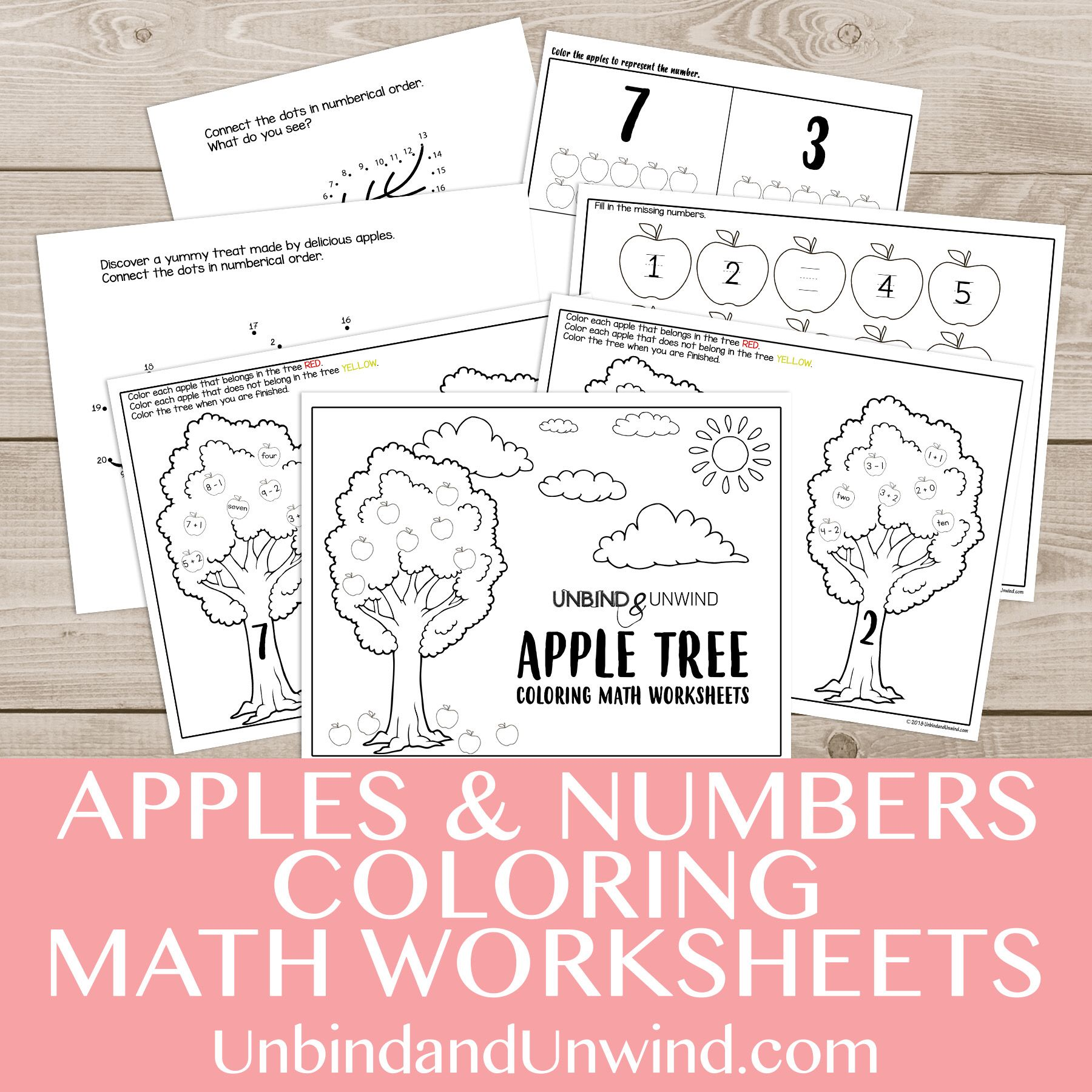 Apples Amp Numbers Coloring Math Worksheets